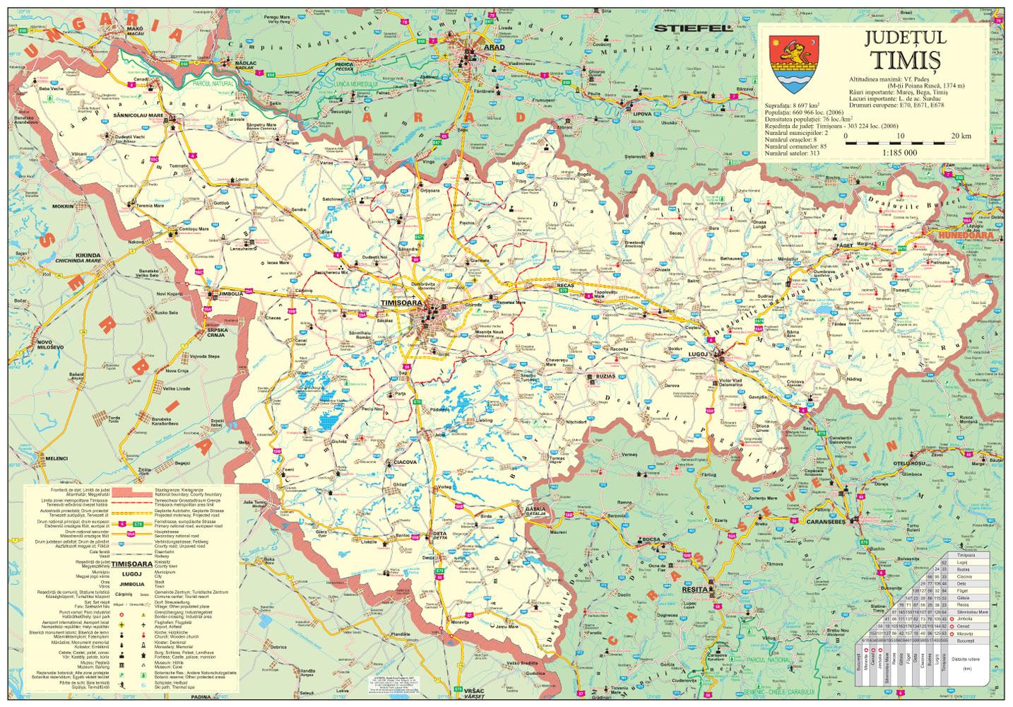 harta județ timiș cu sate